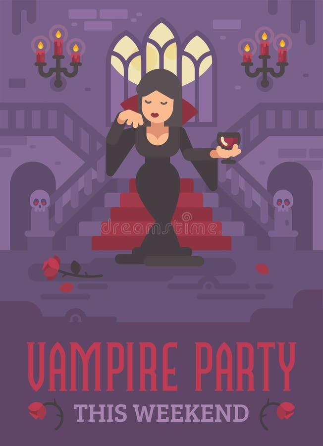 Cartaz de Dia das Bruxas com senhora do vampiro em um vestido preto ilustração royalty free
