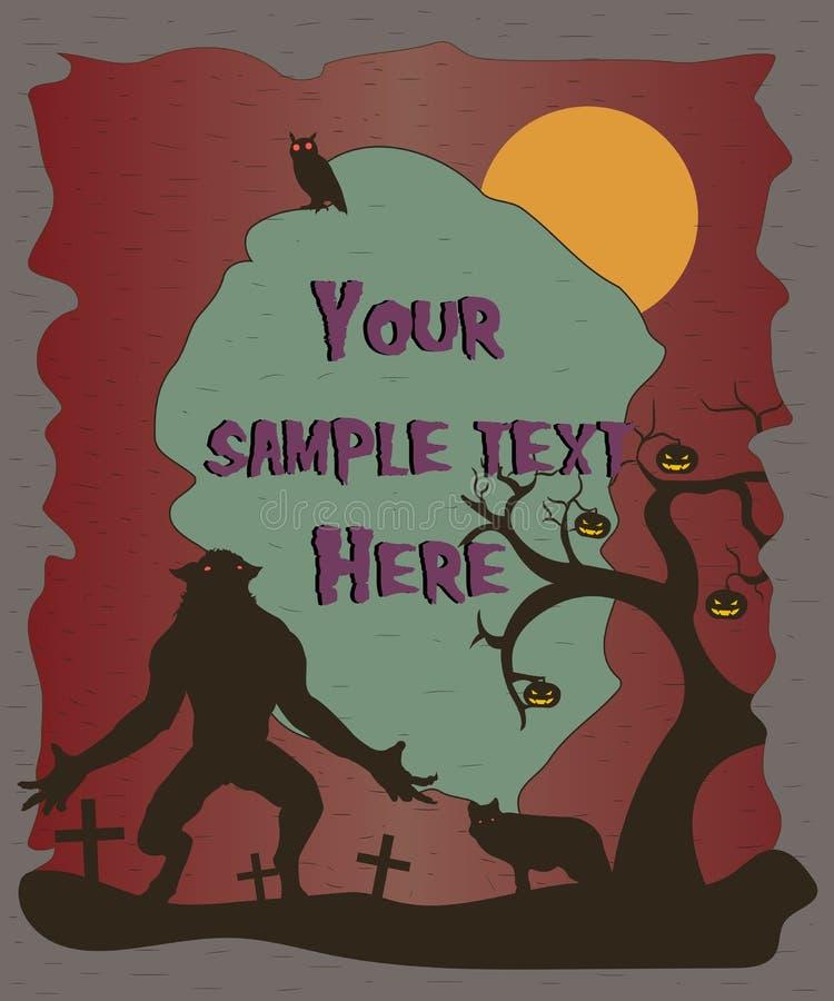 Cartaz de Dia das Bruxas com silhuetas do homem-lobo Música da noite Vetor ilustração royalty free