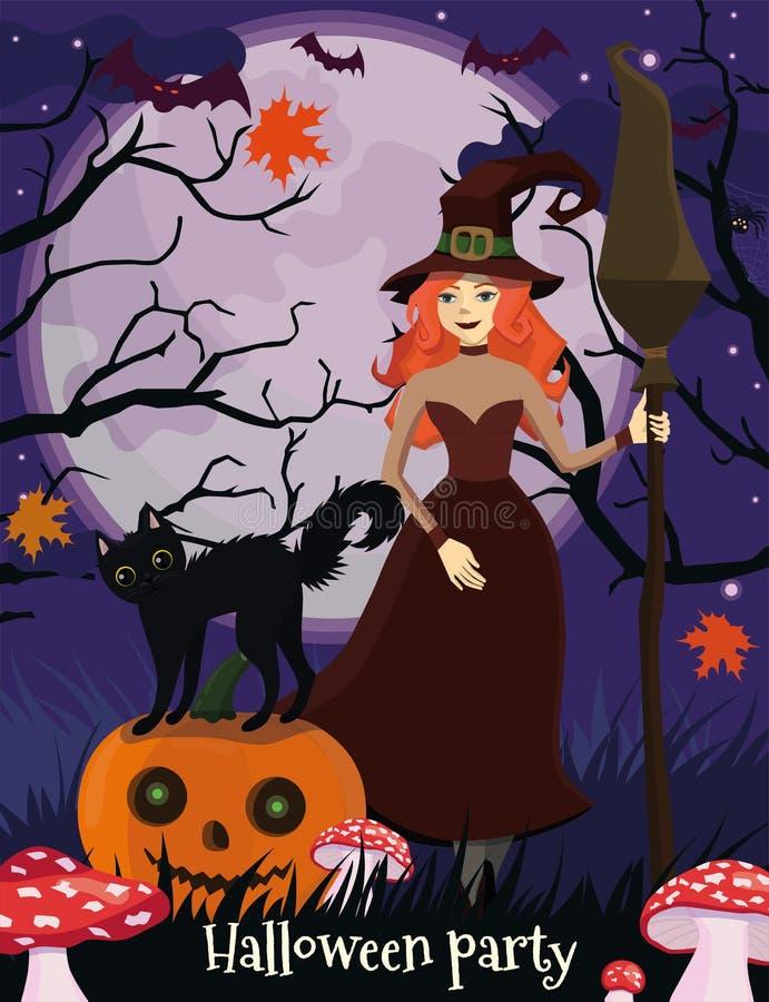 Cartaz de Dia das Bruxas com uma bruxa, um gato preto e uma abóbora Estilo dos desenhos animados Molde do vetor ilustração do vetor