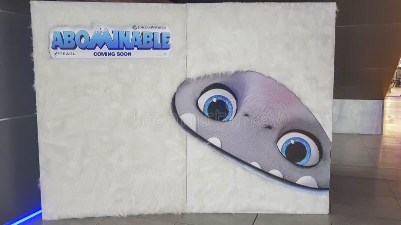 Cartaz de filme abominável, Abominable é um filme de aventura animado por computador de 2019 produzido pela DreamWorks Animation  fotos de stock royalty free
