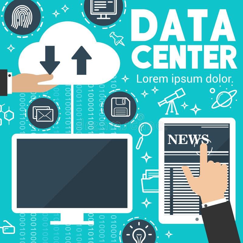 Cartaz de intercâmbio de dados digital da notícia do Internet do vetor ilustração do vetor