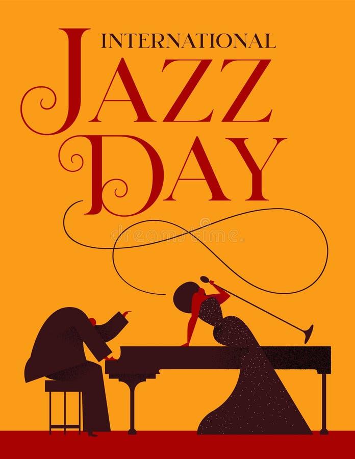 Cartaz de Jazz Day do cantor e do jogador de piano ilustração do vetor
