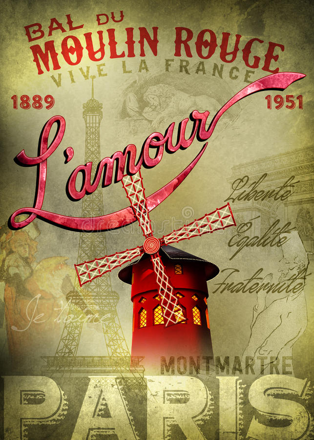 Cartaz de L'amour do vermelho de Moulin ilustração royalty free