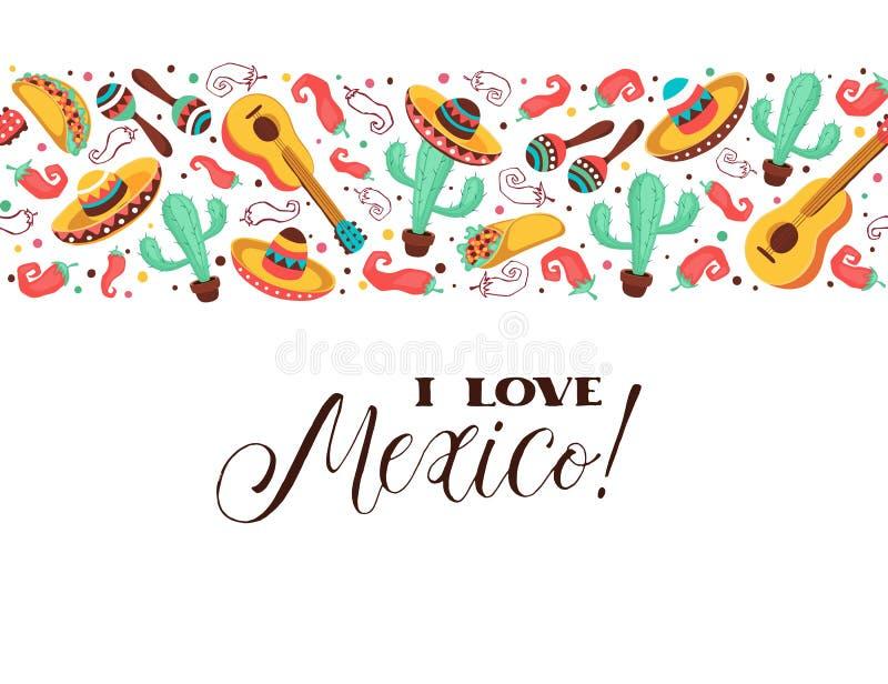 Cartaz de México do amor ilustração do vetor