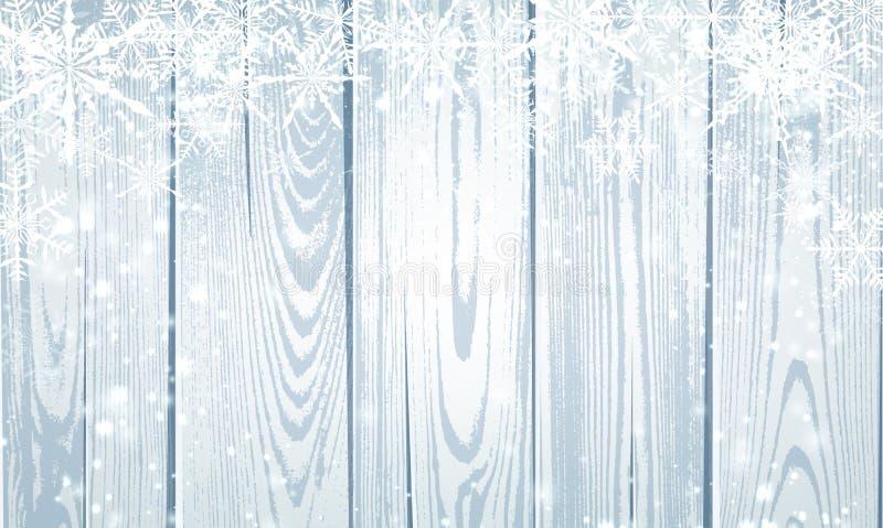 Cartaz de madeira cinzento do inverno com os flocos de neve brancos para sazonal, Ch ilustração stock