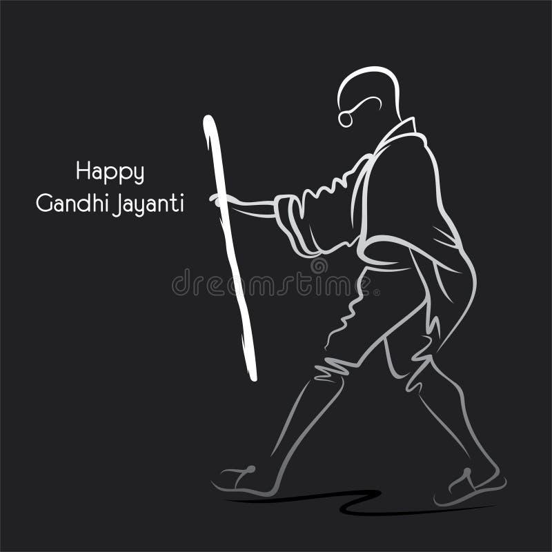 Cartaz de Mahatma Gandhi para Gandhi Jayanti ilustração do vetor
