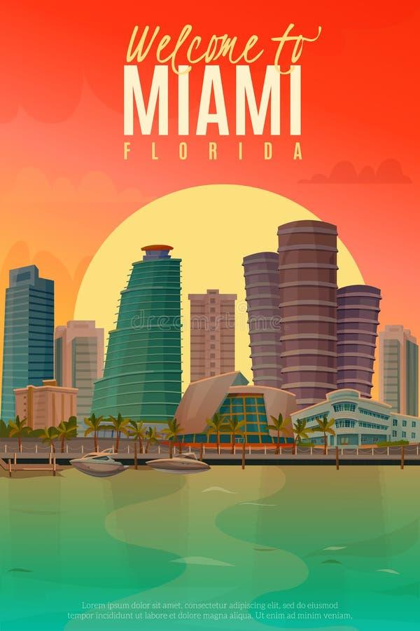 Cartaz de Miami da noite ilustração royalty free