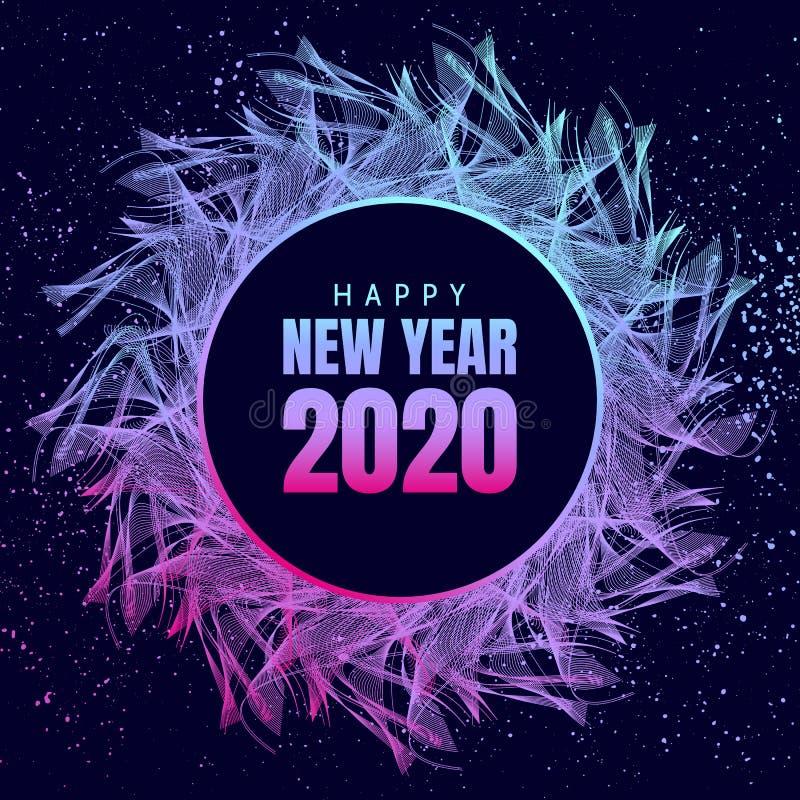 Cartaz de néon do ano novo feliz 2020 com o floco de neve 3d e os confetes ilustração royalty free