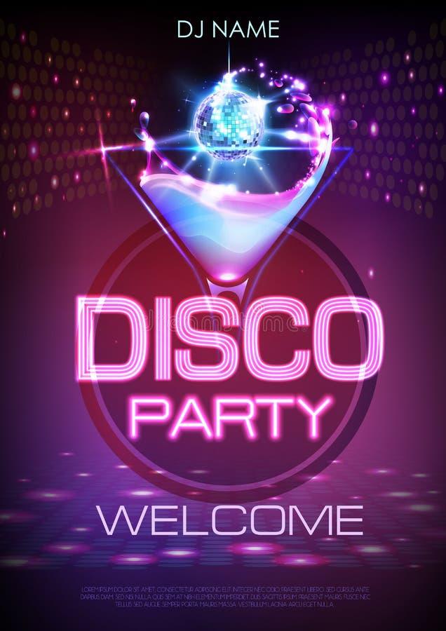 Cartaz de néon do cocktail do disco ilustração royalty free