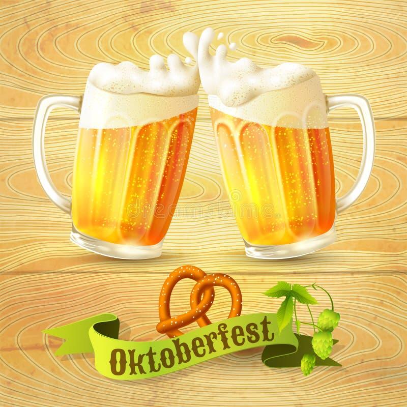 Cartaz de Octoberfest das canecas de cerveja ilustração stock