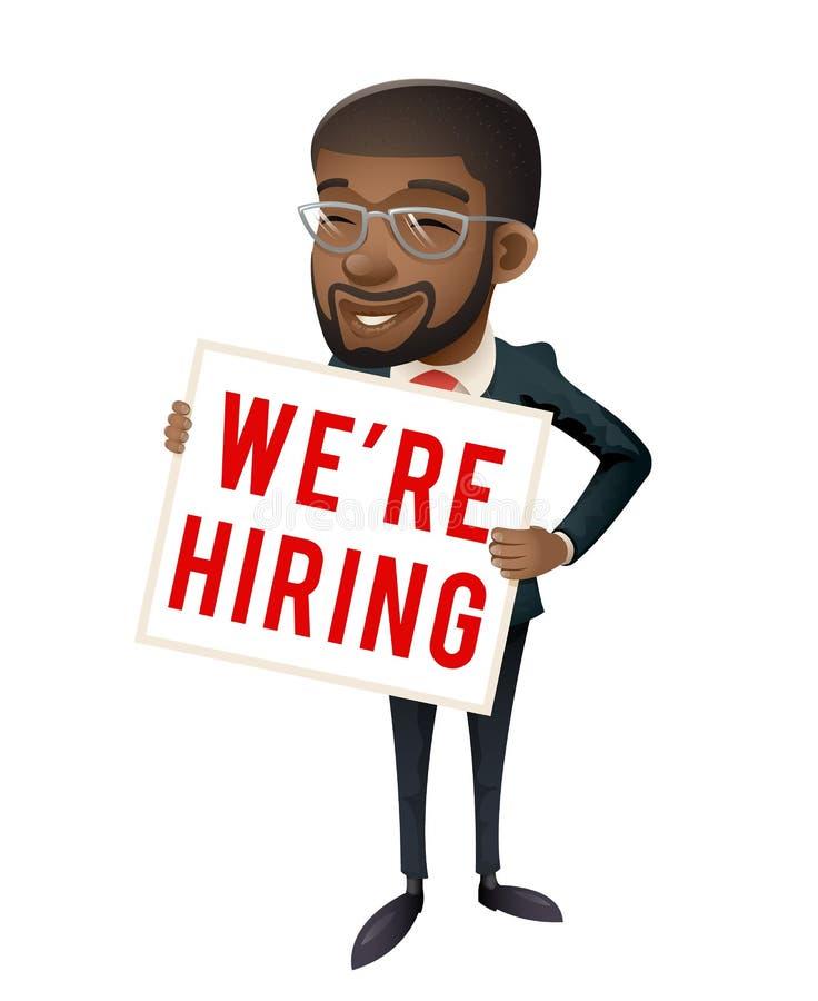 Cartaz de papel de aluguer do panfleto do homem de negócios afro-americano do recruta dos pessoais no personagem de banda desenha ilustração do vetor