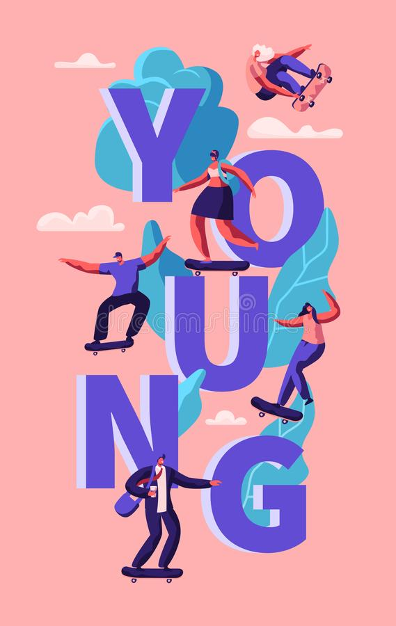 Cartaz de patinagem da tipografia do skate dos povos novos do moderno Menina do skater no estilo de vida moderno da liberdade de  ilustração stock