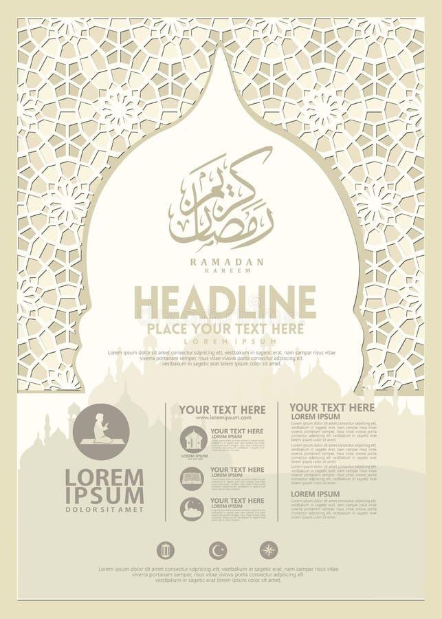 Cartaz de Ramadan Kareem, molde do folheto e outros usu?rios, fundo isl?mico da bandeira ilustração royalty free