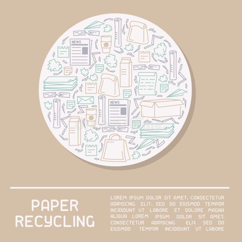 Cartaz de reciclagem de papel da informação ilustração stock