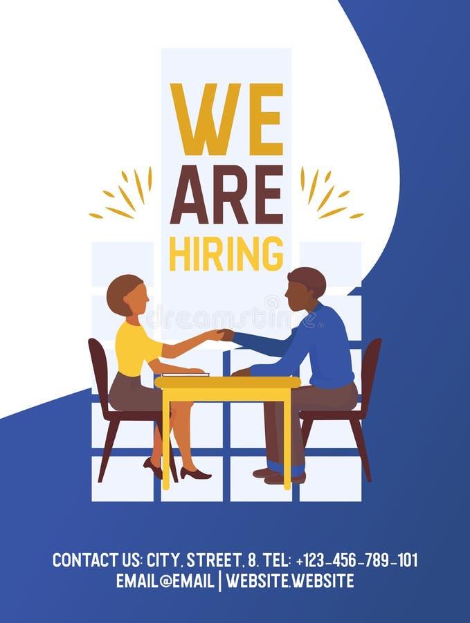 Cartaz de recrutamento da ilustração do vetor Apresentação social para o emprego e o recrutamento Recursos do recruta da Web, esc ilustração do vetor