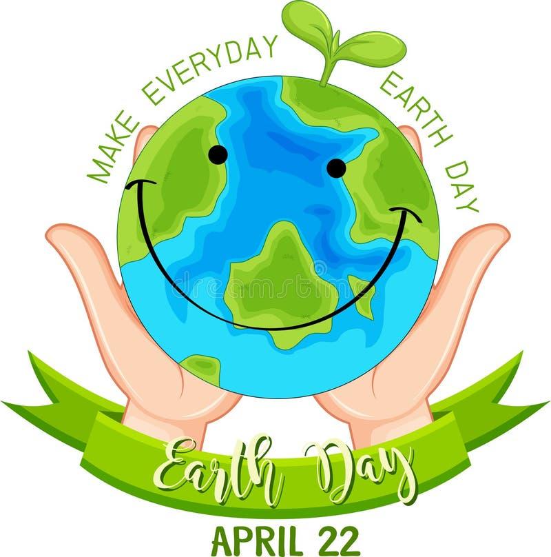 Cartaz de sorriso do Dia da Terra ilustração royalty free