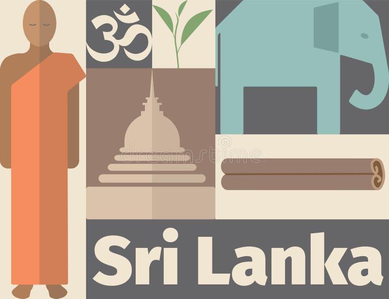 Cartaz de Sri Lanka Ícone liso Molde do vetor ilustração royalty free