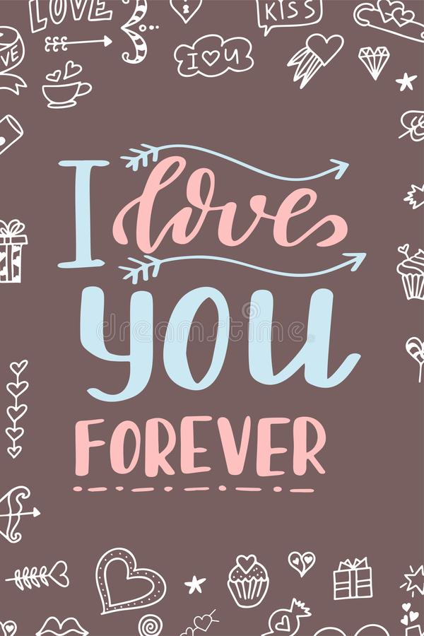 Cartaz de Valentine Day Cartaz ou cartão tirado mão Mensagens do amor tex escrito à mão da caligrafia Ilustração do vetor ilustração stock