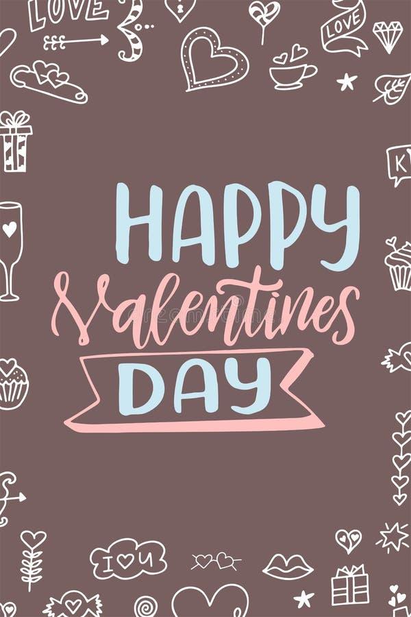Cartaz de Valentine Day Cartaz ou cartão tirado mão Mensagens do amor tex escrito à mão da caligrafia Ilustração do vetor ilustração do vetor