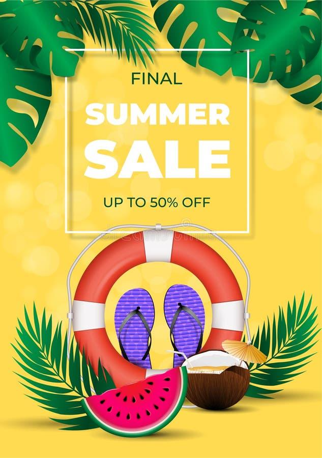 Cartaz de venda final de verão, esquema de desconto de estação quente - elementos coloridos de verão ilustração stock