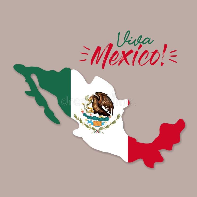 Cartaz de Viva México com mapa de México e a silhueta colorida da bandeira ilustração royalty free