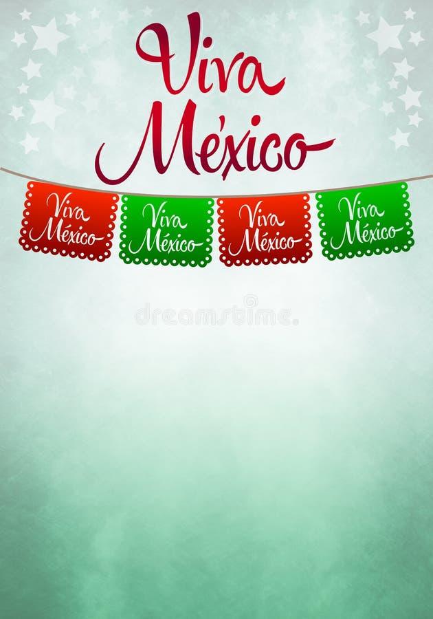 Cartaz de Viva México - decoração de papel mexicana ilustração royalty free