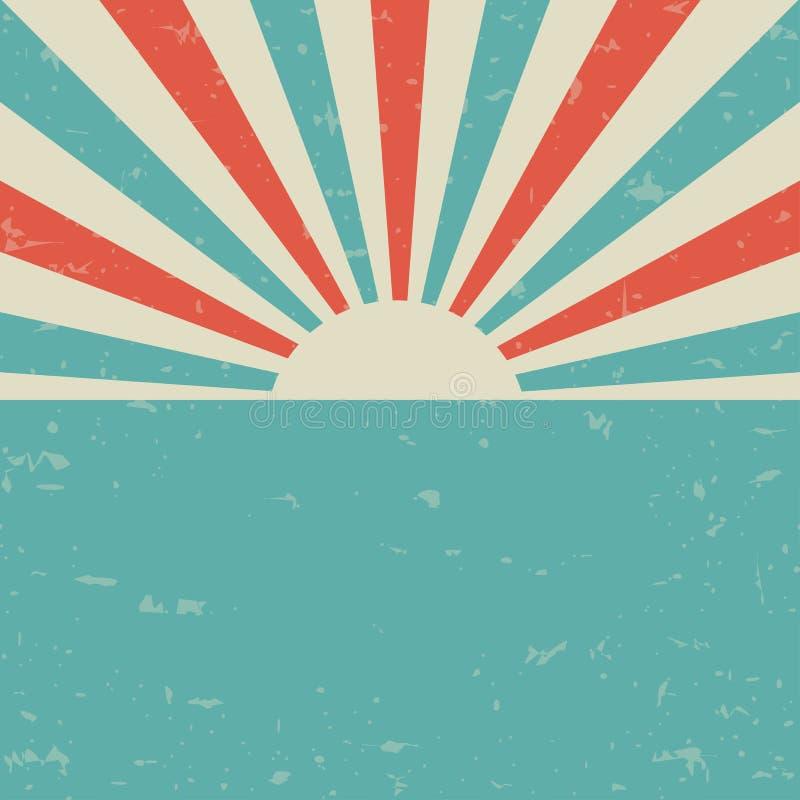 Cartaz desvanecido retro do grunge da luz solar fundo da explosão de cor azul e vermelha ilustração do vetor