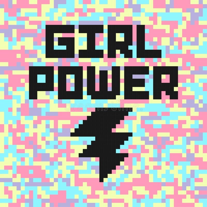 Cartaz digital holográfico da camuflagem com citações do poder da menina Slogan feminista ilustração stock
