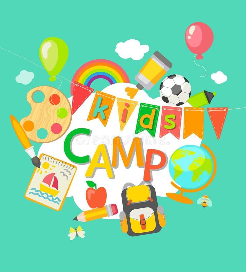 Cartaz do acampamento de verão ilustração royalty free