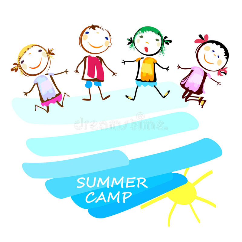 Cartaz do acampamento de verão com crianças felizes ilustração stock