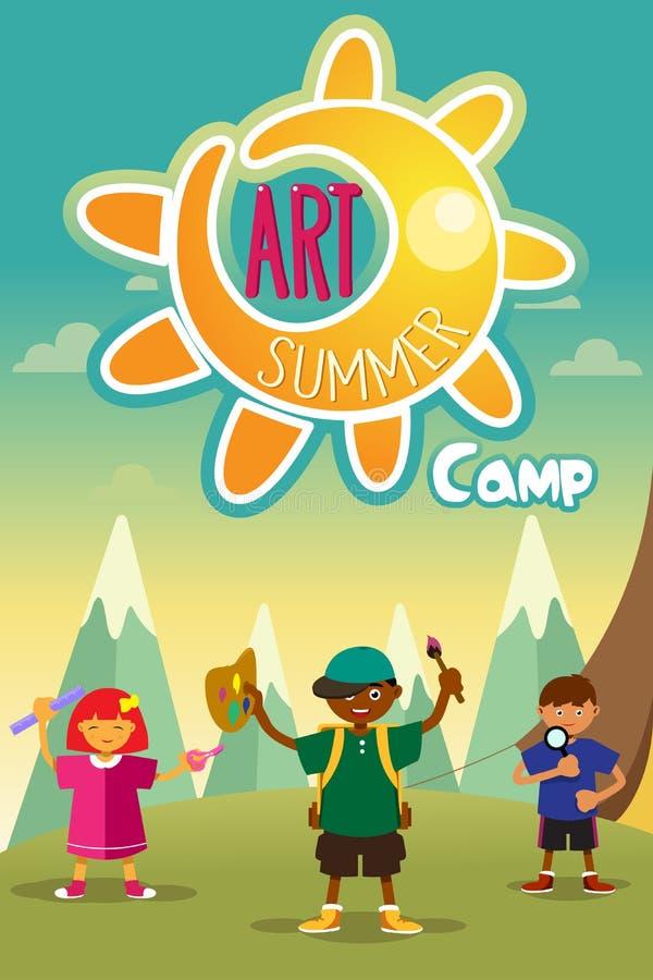 Cartaz do acampamento de verão da arte ilustração stock