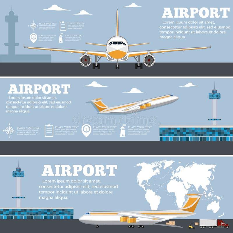 Cartaz do aeroporto ajustado com avião ilustração stock