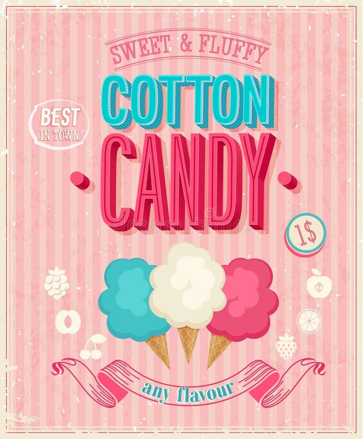 Cartaz do algodão doce do vintage. Ilustração do vetor. ilustração royalty free