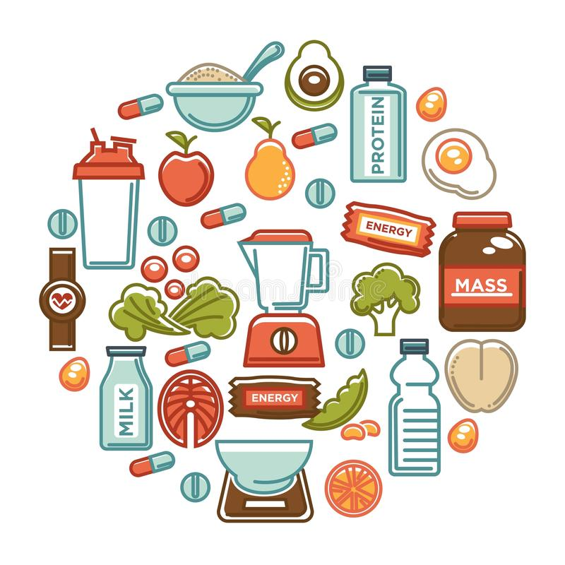 Cartaz do alimento da aptidão de ícones da nutrição do alimento da dieta saudável dos esportes ilustração stock