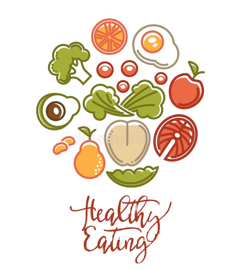 Cartaz do alimento da aptidão de ícones da nutrição do alimento da dieta saudável dos esportes ilustração do vetor