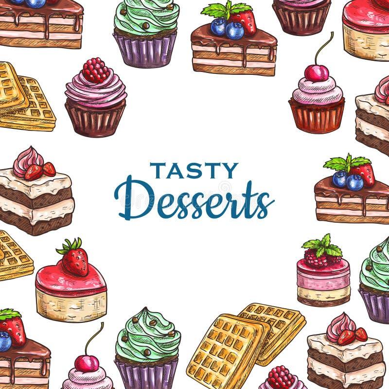 Cartaz do alimento da padaria ou da pastelaria, bolo da sobremesa ilustração royalty free