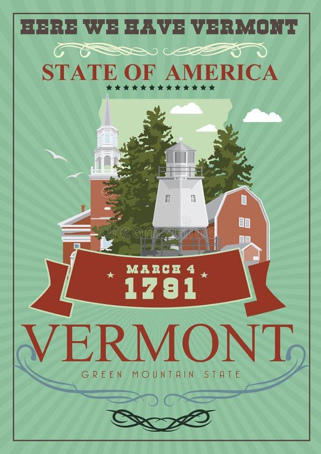 Cartaz do americano do vetor de Vermont Ilustração do curso dos EUA Cartão colorido do Estados Unidos da América ilustração royalty free