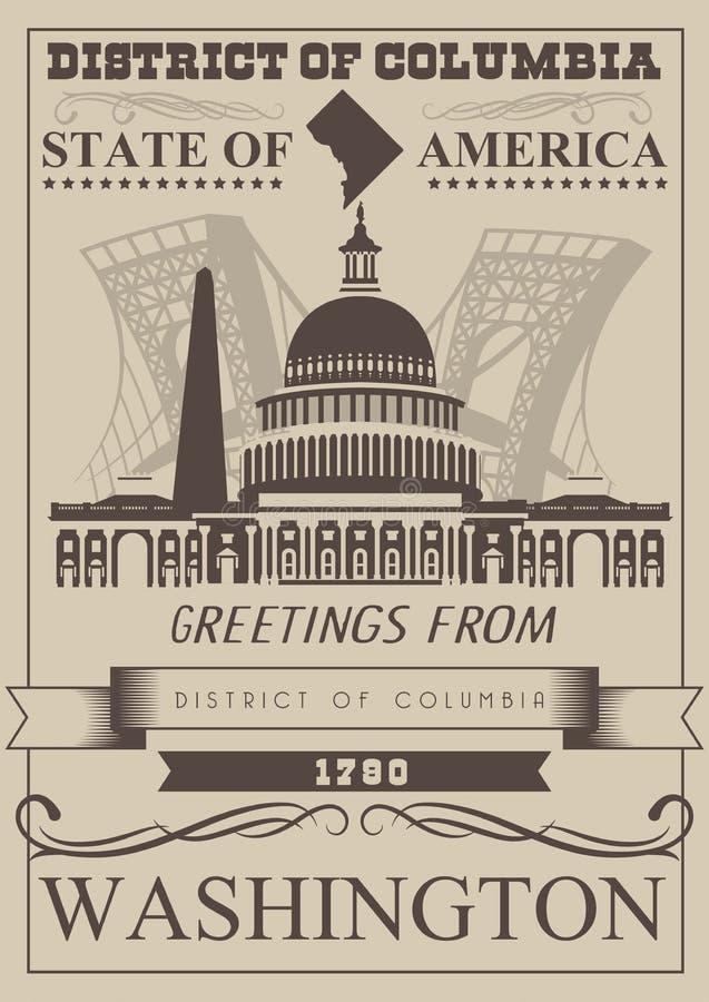 Cartaz do americano do vetor do distrito de Columbia Ilustração do curso dos EUA Cartão colorido do Estados Unidos da América was ilustração royalty free