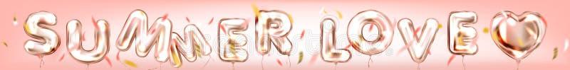 Cartaz do amor do ver?o por ballons dourados da folha no ar ilustração royalty free