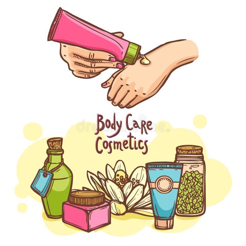 Cartaz do anúncio de produtos dos cosméticos do cuidado do corpo ilustração stock