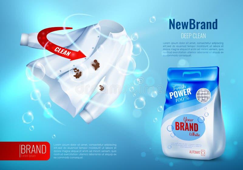 Cartaz do ANÚNCIO do detergente para a roupa ilustração stock