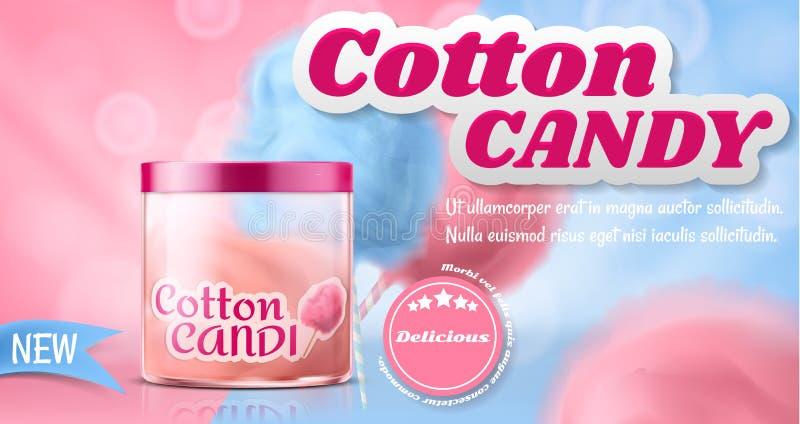 Cartaz do anúncio do vetor com o algodão doce na caixa ilustração do vetor