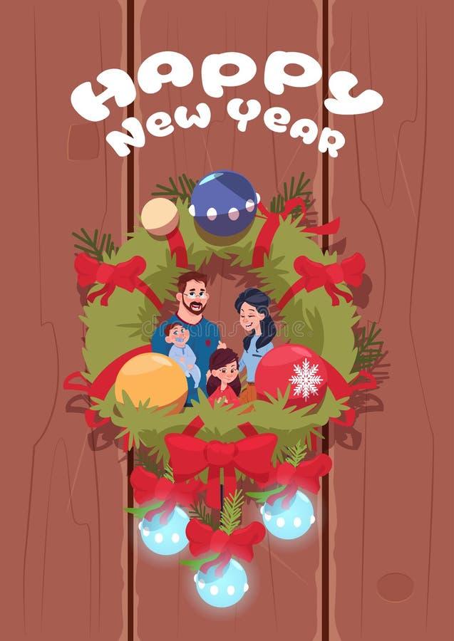 Cartaz do ano novo feliz com a família no cartão bonito de Garland Over Wooden Texture Background do Natal ilustração royalty free