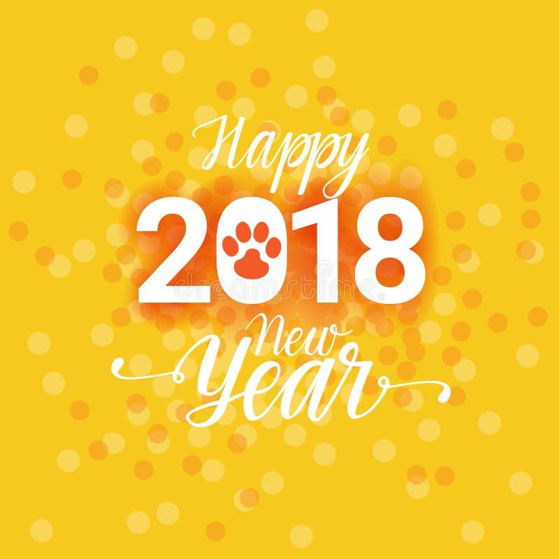 Cartaz do ano 2018 novo feliz com fundo de Paw Sign Abstract Greeting Card do cão ilustração stock