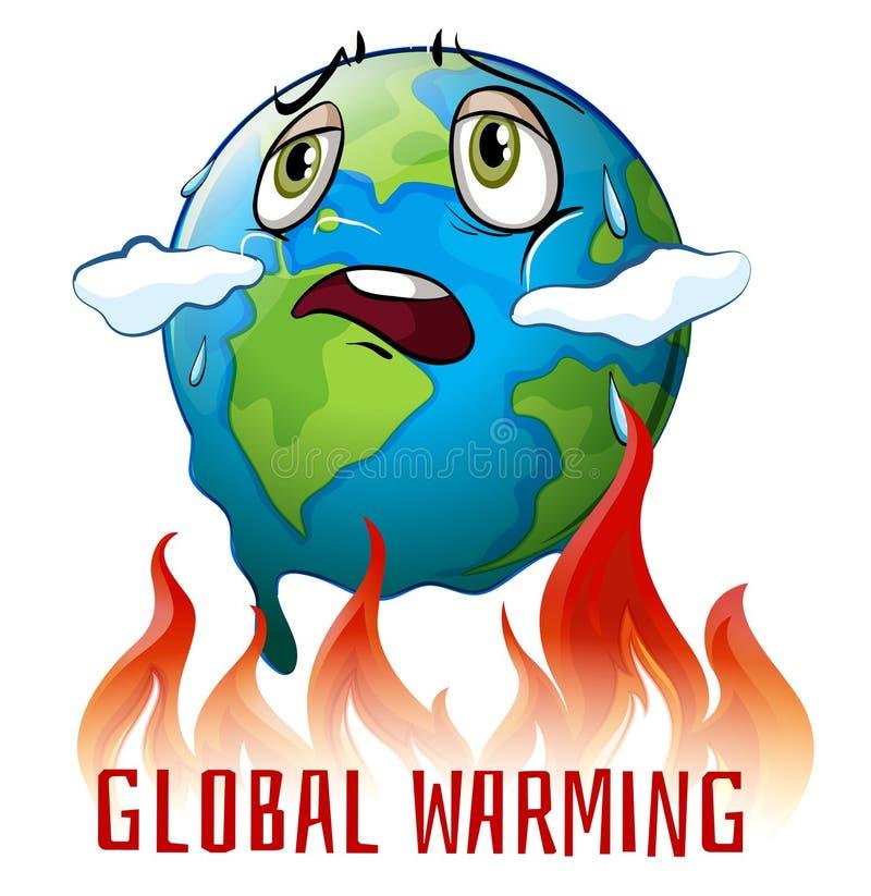 Cartaz do aquecimento global com terra no fogo ilustração stock
