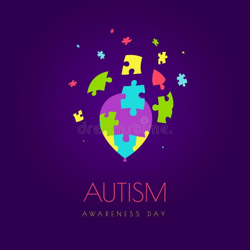 Cartaz do balão do autismo ilustração do vetor