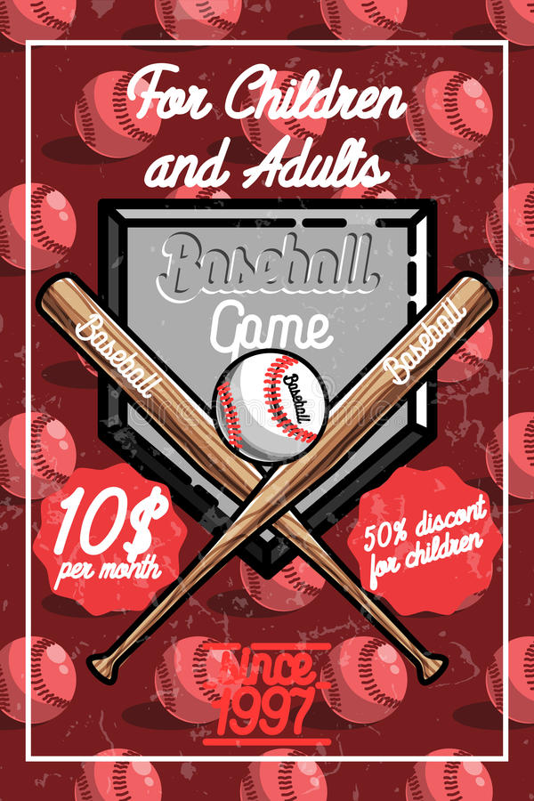 Cartaz do basebol do vintage da cor ilustração stock