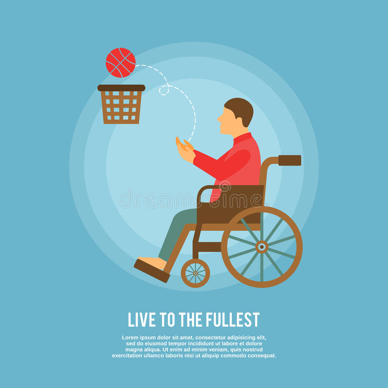 Cartaz do basquetebol de cadeira de rodas ilustração stock
