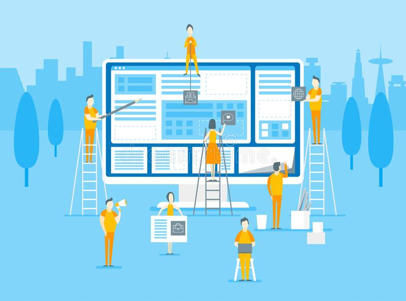 Cartaz do cartão do design web e do desenvolvimento dos desenhos animados Vetor ilustração do vetor