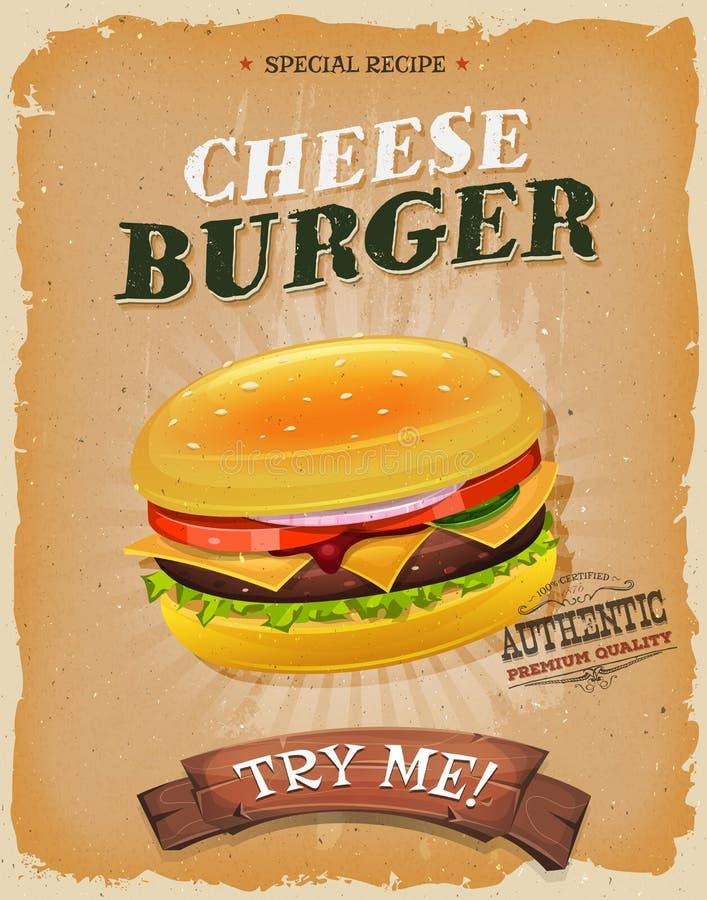 Cartaz do cheeseburger do Grunge e do vintage ilustração do vetor